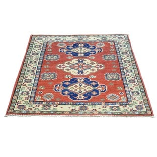 Hand-Knotted Wool Tribal Design Red Kazak Rug (2'8x4')