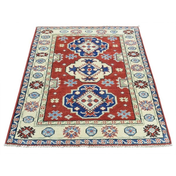 Hand-Knotted Geometric Design Kazak Wool Oriental Carpet - 2'9x4'