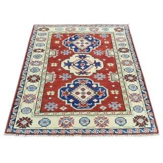 Hand-Knotted Geometric Design Kazak Wool Oriental Carpet (2'9x4')