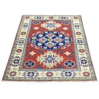 Hand-Knotted Wool Geometric Design Kazak Rug (2'8x3'10)