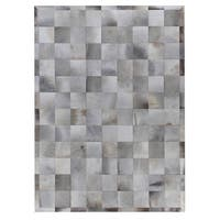 Exquisite Rugs Stitched Blocks Silver Leather Hair-on Hide Rug (8' x 11') - 8' x 11'
