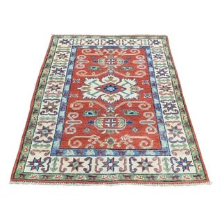 Hand-Knotted Red Kazak Tribal And Geometric Design Rug (2'8x4'2)