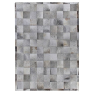 Stitched Blocks Silver Leather Hair-on Hide Rug (11' x 15')