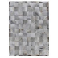 Exquisite Rugs Stitched Blocks Silver Leather Hair-on Hide Rug - 5' x 8'