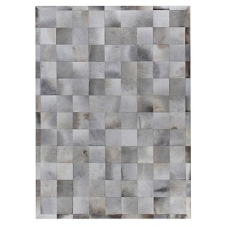 Exquisite Rugs Stitched Blocks Silver Leather Hair-on Hide Rug (5' x 8') - 5' x 8'