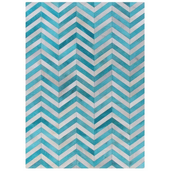 Exquisite Rugs Chevron Hide Turquoise White Leather Hair On Rug 9 6 X 13
