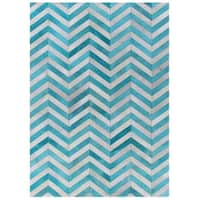 Exquisite Rugs Chevron Hide Turquoise / White Leather Hair-on Hide Rug (8' x 11') - 8' x 11'