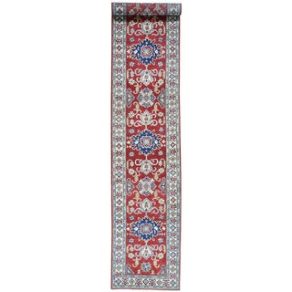 Hand-Knotted Tribal Design Kazak Runner Wool Carpet (2'6x14'7)