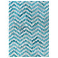 Exquisite Rugs Chevron Hide Turquoise / White Leather Hair-on Hide Rug - 5' x 8'