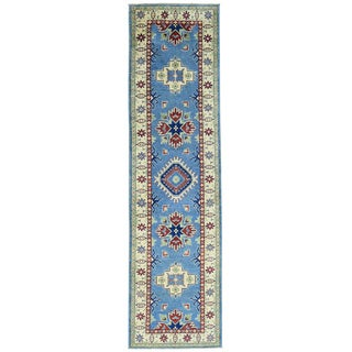 Hand-Knotted Tribal Design Kazak Runner Wool Rug (2'7x9'10)