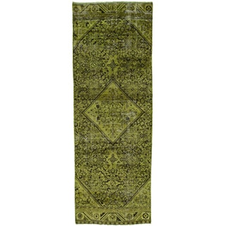 Hand-Knotted Overdyed Persian Hussainabad Runner Rug (3'5x9'8)