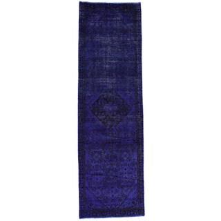Handmade Overdyed Persian Hamadan Runner Oriental Carpet (3'2x10'5)