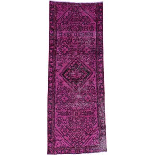 Handmade Overdyed Persian Hamadan Runner Oriental Carpet (3'3x8'9)