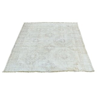 Hand-Knotted square Milk Wash Overdyed Persian Shiraz Rug (4'1x4'8)
