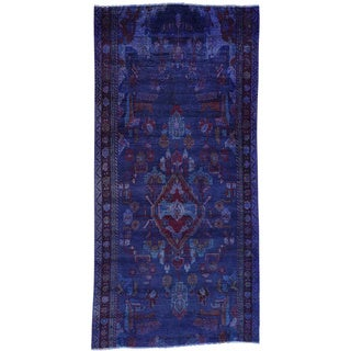 Hand-Knotted Persian Hamadan Runner Overdyed Rug (4'x8'3)