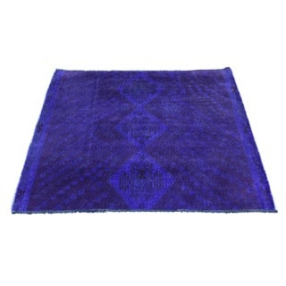 Hand-Knotted Square Persian Shiraz Overdyed Rug (3'3x3'5)