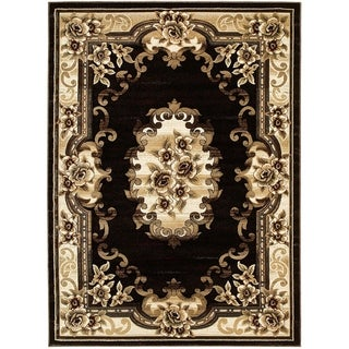 LYKE Home Hand Carved Black Traditional Area Rug (5'3 x 7'2)