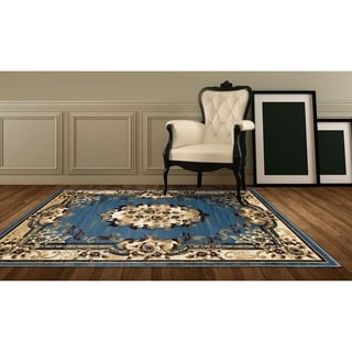 LYKE Home Hand Carved BlueTraditional Area Rug 8x11