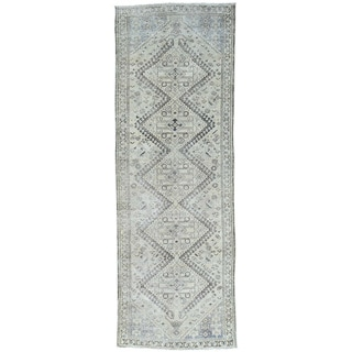 Hand-Knotted Overdyed Persian Qashqai Runner Oriental Rug (3'6x10')
