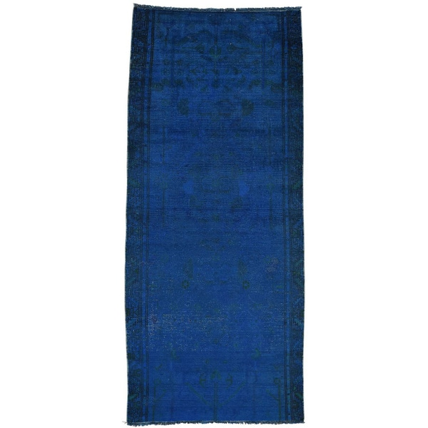 Handmade Overdyed Persian Hamadan Runner Oriental Rug - 3'5x7'10