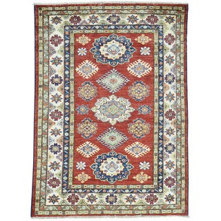 Hand-Knotted Tribal Design Red Super Kazak Oriental Rug (4'1x5'7)