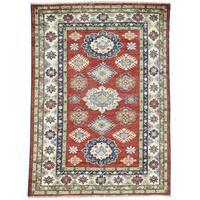 Hand-Knotted Tribal Design Red Super Kazak Oriental Rug (4'1x5'7)