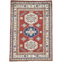 Hand-Knotted Wool Super Kazak Tribal Design Oriental Rug (4'6x6'5)