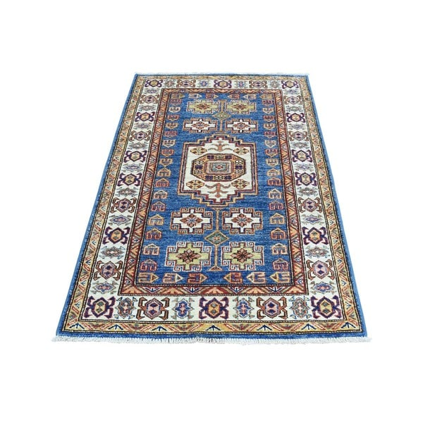 Hand-Knotted Denim Blue Super Kazak Tribal Design Rug (2'7x4'5)