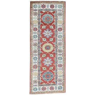 Hand-Knotted Runner Super Kazak Geometric Design Rug (2'6x6'7)
