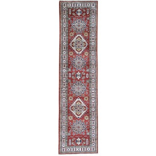Hand-Knotted Tribal Design Super Kazak Runner Rug (2'9x10'9)