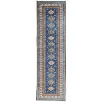 Hand-Knotted Runner Tribal Design Super Kazak Oriental Rug - 2'9x9'4