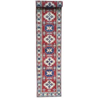 Hand-Knotted Red Kazak Runner Tribal Design Oriental Rug (2'9x19'10)