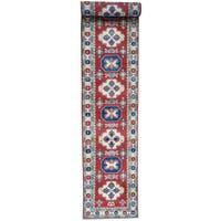 Hand-Knotted Red Kazak Runner Tribal Design Oriental Rug - 2'9x19'10