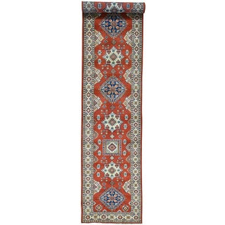 Hand-Knotted Runner Kazak Geometric Design Oriental Rug (3'x16'5)