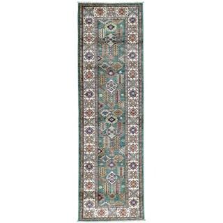 Hand-Knotted Tribal Design Super Kazak Runner Oriental Rug (2'6x8'3)