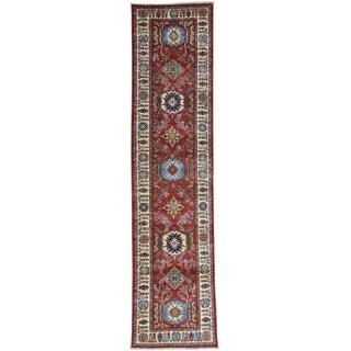 Hand-Knotted Tribal Design Super Kazak Runner Rug (2'6x10'5)