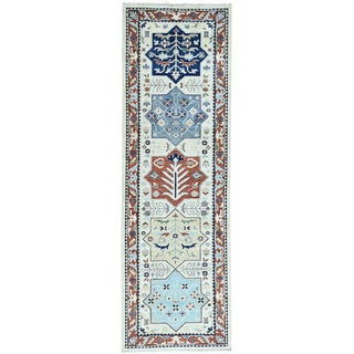 Hand-Knotted Runner Antiqued Akstafa Caucasian Design Rug (2'7x8'2)