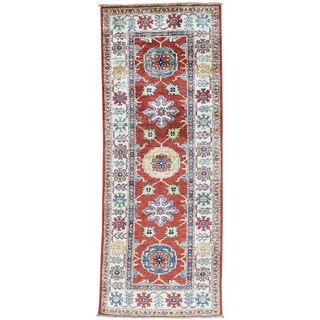 Hand-Knotted Red Super Kazak Runner Wool Oriental Rug (2'6x6'6)
