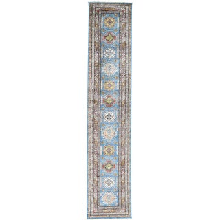 Hand-Knotted Tribal Design Runner Super Kazak Rug (2'9x13'4)