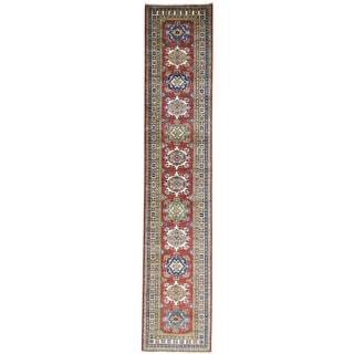 Hand-Knotted Super Kazak Tribal Design Runner Rug (2'8x13'10)