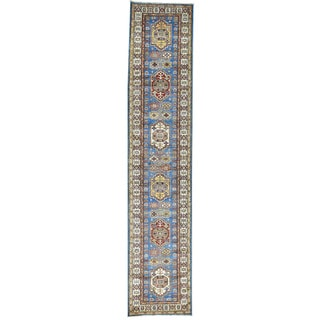 Hand-Knotted Super Kazak Runner Tribal Design Rug (2'9x13'2)