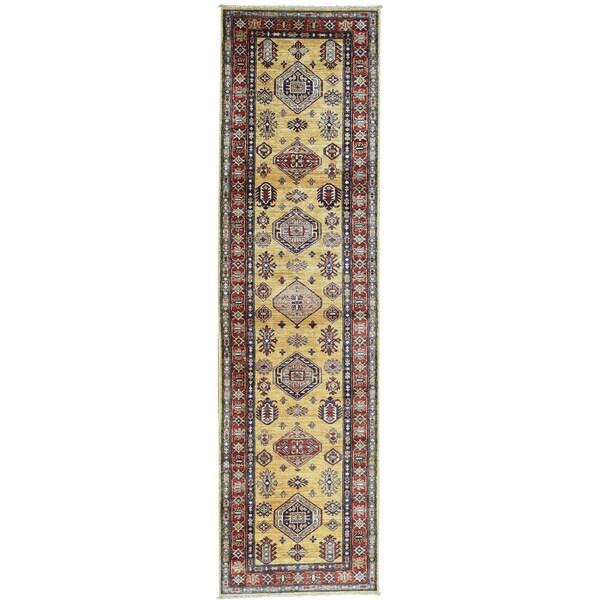 Hand-Knotted Runner Super Kazak Wool Tribal Design Rug (2'8x9'7)