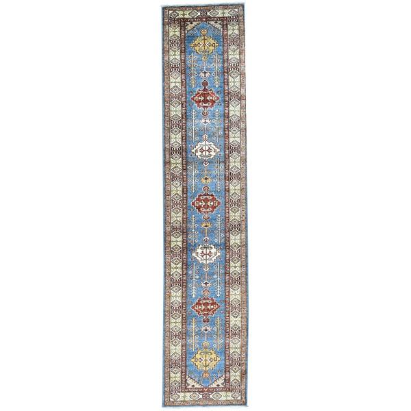 Hand-Knotted Runner Super Kazak Tribal Design Rug (2'8x12'10)