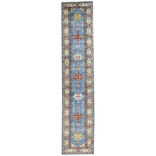 Hand-Knotted Runner Super Kazak Tribal Design Rug (2'8x12'10)