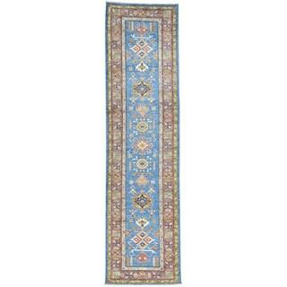 Hand-Knotted Runner Super Kazak Tribal Design Blue Rug (2'8x10'1)