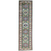 Hand-Knotted Runner Super Kazak Tribal Design Oriental Rug (2'8x9'8)