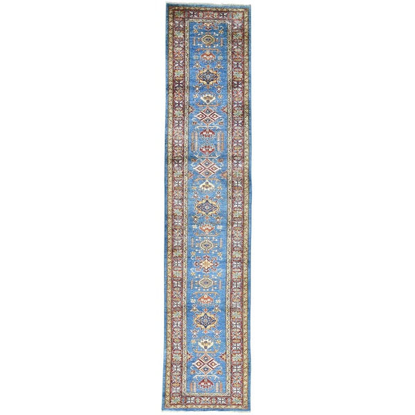 Hand-Knotted Super Kazak Runner Tribal Design Carpet (2'9x12'10)
