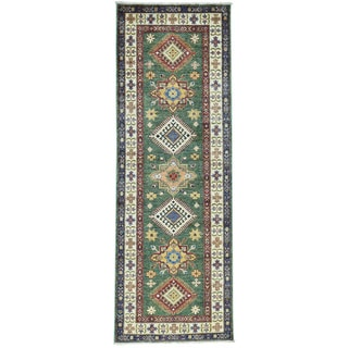 Hand-Knotted Super Kazak Runner Forest Green Carpet (2'7x7'5)