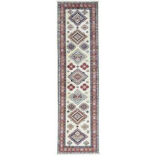 Hand-Knotted Ivory Super Kazak Runner Tribal Design Rug (2'8x9'8)