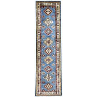 Hand-Knotted Sky Blue Super Kazak Runner Oriental Rug (2'8x10')